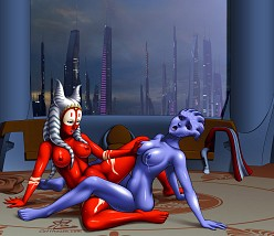 Shaak Ti and Liara T'Soni - Oni - Mass Effect
