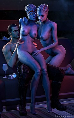 Shepard, Samara and Morinth - HuggyBear - Mass Effect